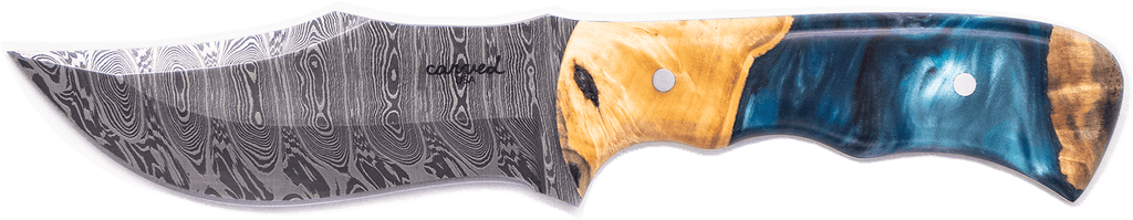 Carved Damascus Hunting Knife #10244