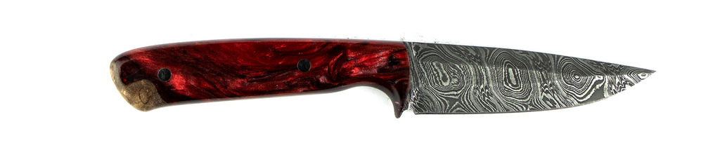 Carved Damascus Field Knife #20020