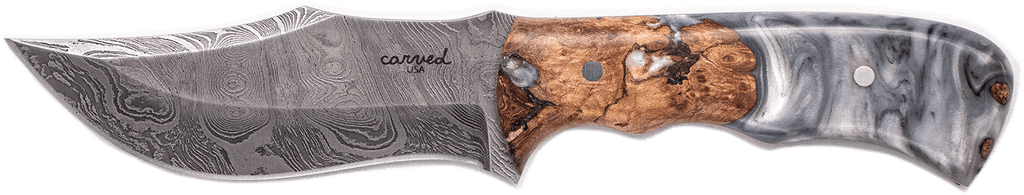 Carved Damascus Hunting Knife #10262