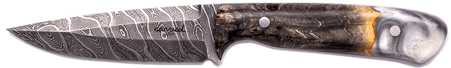 Carved Damascus Field Knife #20284