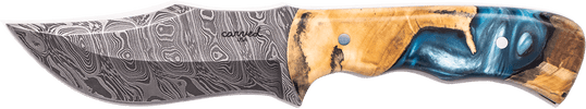 Carved Damascus Hunting Knife #10239