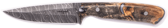 Carved Damascus Field Knife #20285