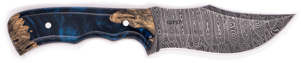 Carved Damascus Hunting Knife #10157