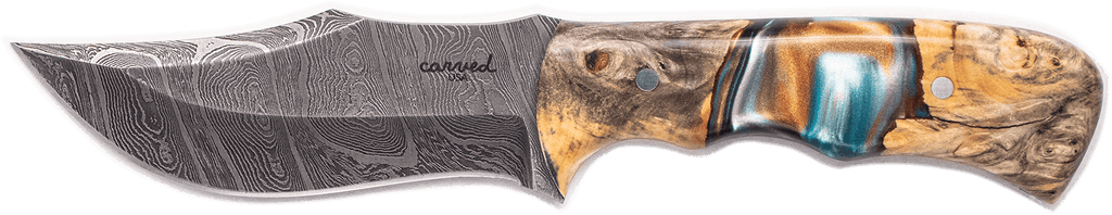 Carved Damascus Hunting Knife #10256