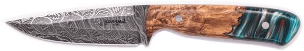 Carved Damascus Field Knife #20259