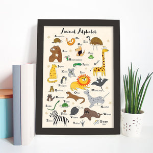 Animal Alphabet - Unique Original Illustrations - Wall Art Print - Poster, Kids Room, Nursery