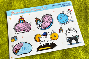 Brainbow and Fitness Cat - Mental and Physical Health Stickers