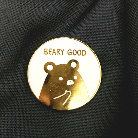 Beary Good - Hard Enamel White and Gold Bear Pin