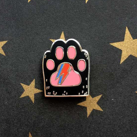 David Bowie Black Cat Paw Magnetic Enamel Pin Brooch