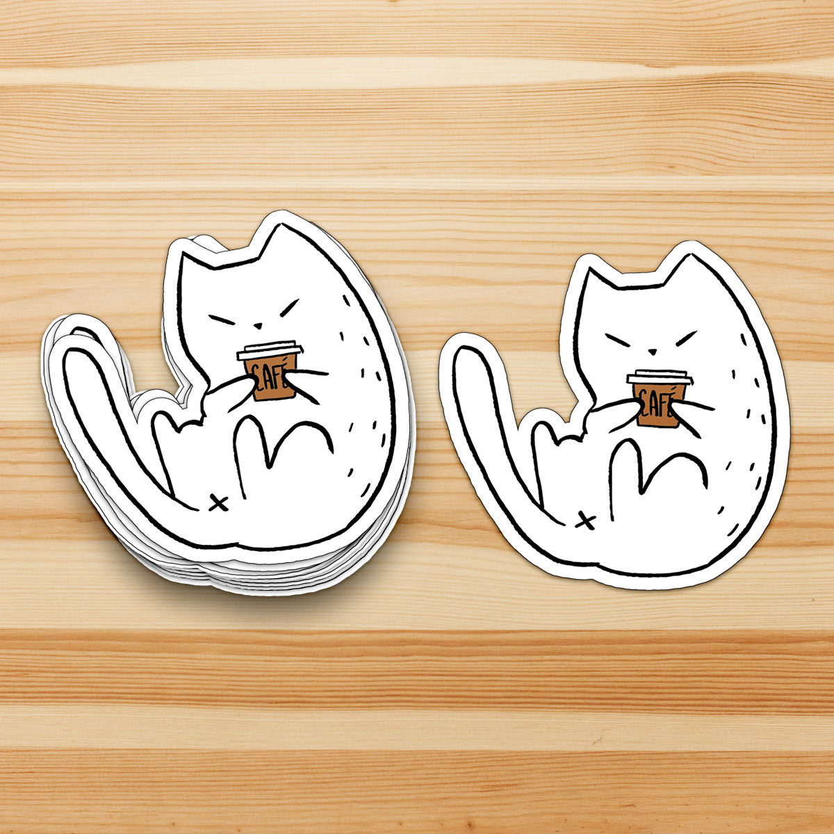 Coffee Cat - Cat Sticker - Coffee Lover - Cat Lover - Laptop Sticker - Decal