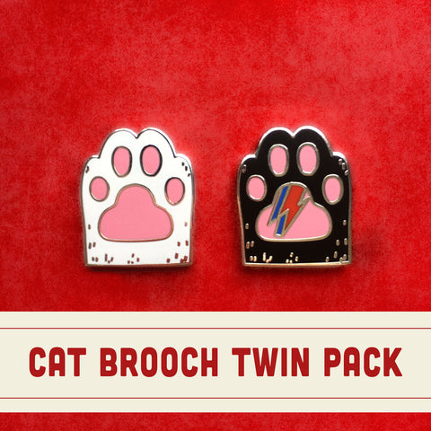 Cat Paw Brooch Twin Pack - Black and White Cat Hard Enamel Brooch - Cat Gifts - Magnetic Jewellery