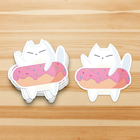 Donut Cat Waterproof Sticker - Cat Sticker - Donut - Cat Lover