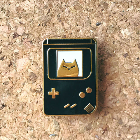 GameCat - Gameboy, Gold and Black Hard Enamel Lapel Pin
