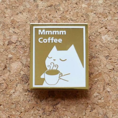 Mmm Coffee Appreciation Cat - Hard Enamel Lapel Pin