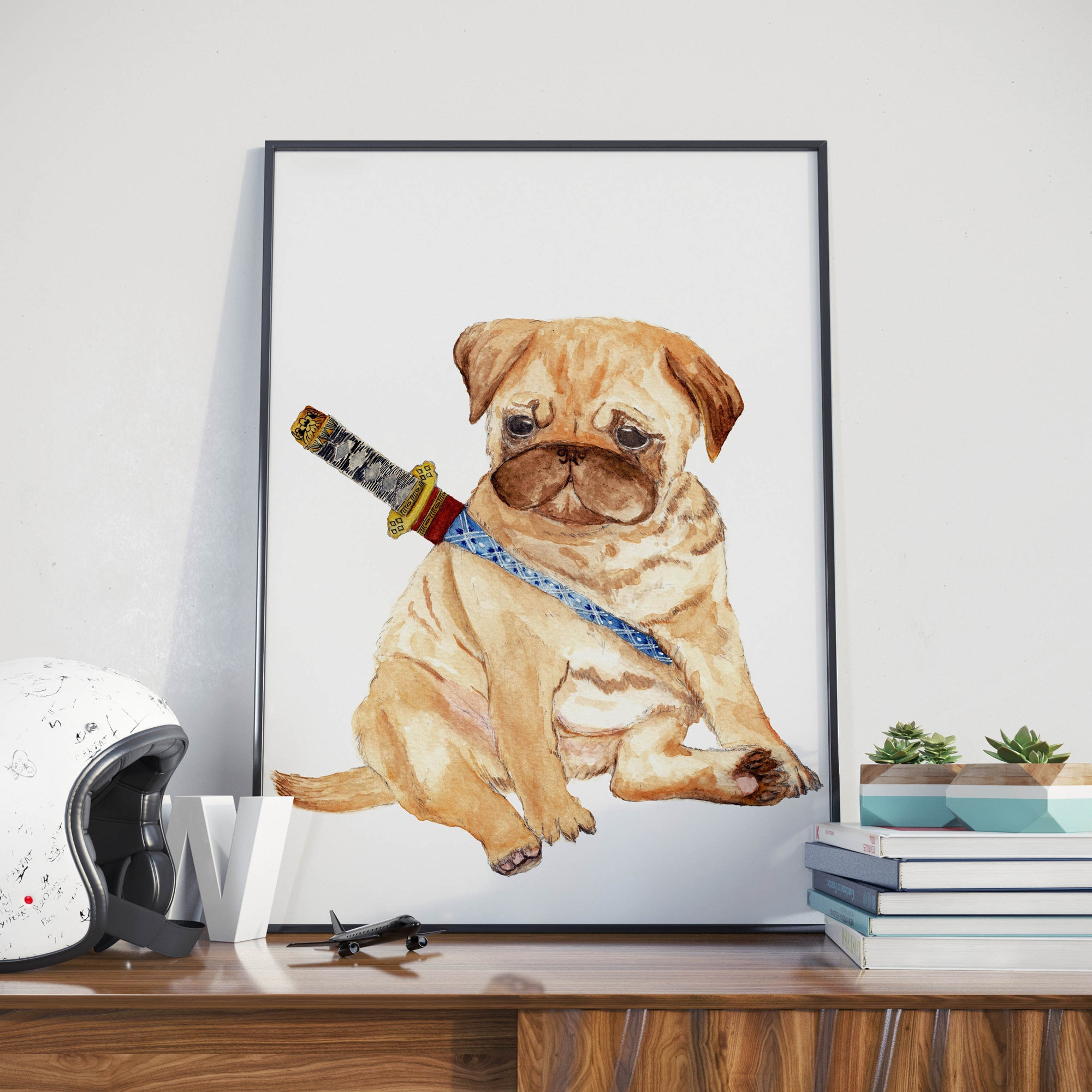 Ninja Pug- Unique Illustration -  Wall Art Print, Kids Room Poster, Nursery Decor, Pug Lover Gift