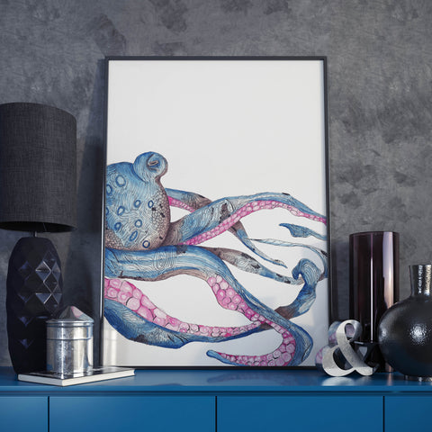 Blue Octopus Watercolor and Line Art- Unique Original Illustration - Wall Art Print - Poster