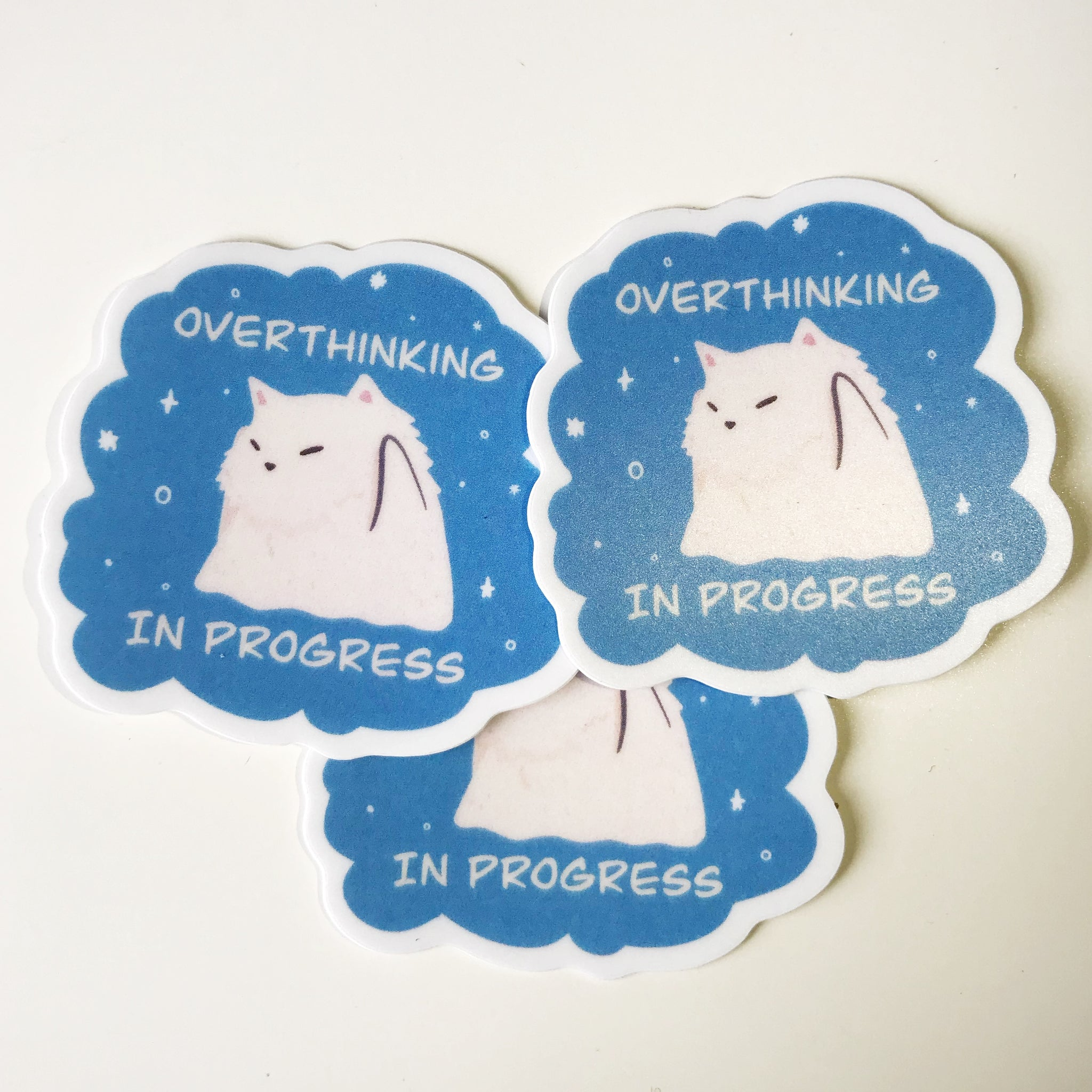 Overthinking in Progress Cat Sticker