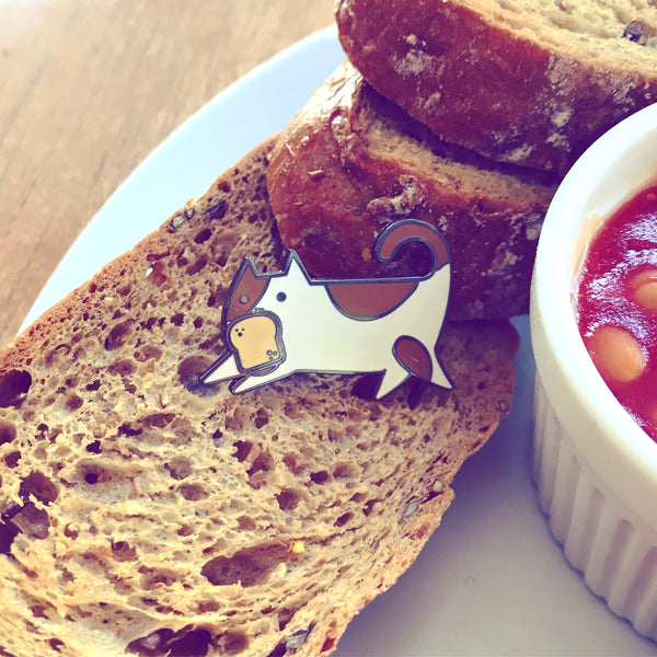 Scribbles and Bread- Hard Enamel Lapel Pin, Bread and Cat Lovers Gift