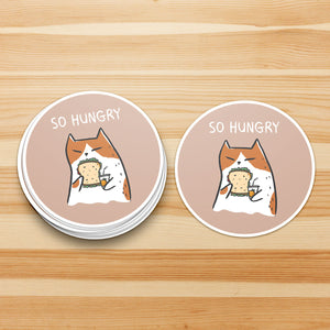 So Hungry Cat Sticker - Waterproof