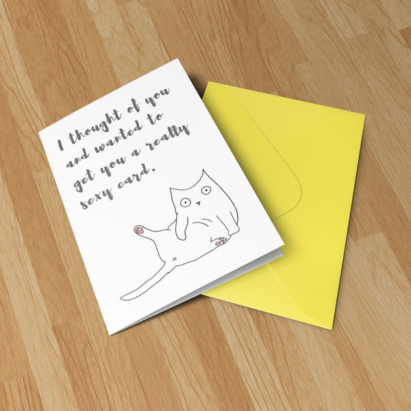 Funny Sexy Cat -  Original Illustration Greeting Card