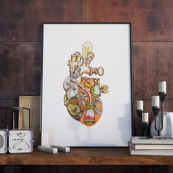 Mechanical Clockwork Heart - Unique Original Illustration - Steampunk Art  - Home Decor - Wall Print