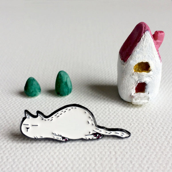 SoTired Sleeping Cat Lapel Pin - Soft Enamel Pin