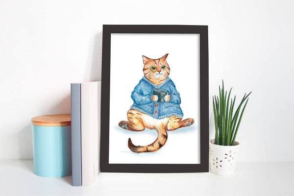 Cosy Monocle Cat with mug  - Unique Illustration - Wall Art Print - Poster, Kids Room, Nursery Art