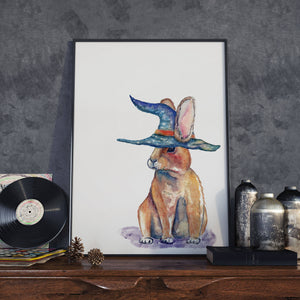Magical Bunny Rabbit with Wizard Hat - Watercolour Illustration - Sorting Hat - Wall Art Print