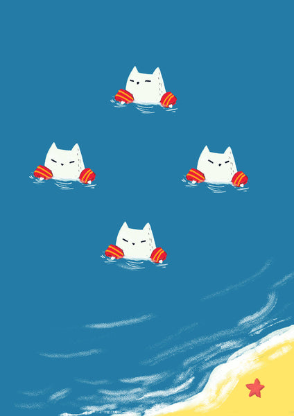 Summer Beach Cats With Floaties - Unique Illustration - Art Print - Wall Art, Kids Room, Nursery