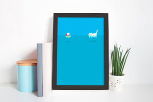 Blue Summer - Unique Cat Illustration - Wall Art Print - Poster - Cute Art, Kids Room, Nursery