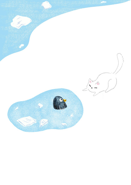 In Winter - Unique Original Illustration - Wall Art Print - Poster - Cats - Cute Art - Nursery