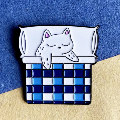 Nap time Cat Soft Enamel Pin - Cat in Bed Pin - Lapel Pin - Hat Pin - Cat Gifts - Pin Badge - Pins