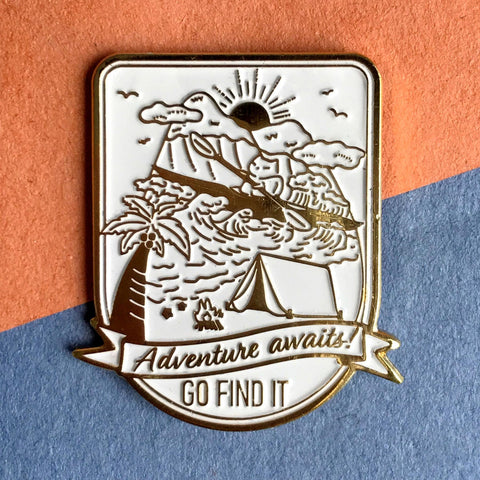 Adventure Kayaking Cat - Soft Enamel Lapel Pin, Outdoorsy Camping Gift, Sea Kayak, Wanderlust