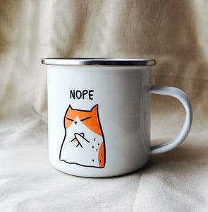 'Nope Kitty' Enamel Camping Mug