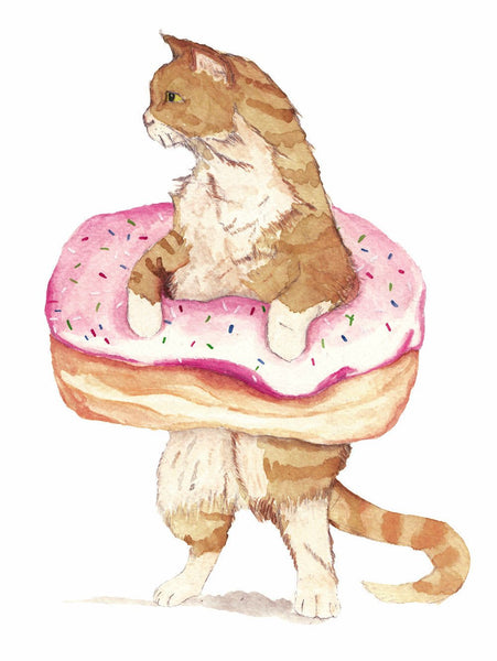 Cute Donut Cat Watercolor - Unique Illustration - Wall Art Print - Poster, Kids Room, Nursery Art
