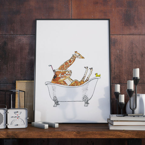 Bathtub Giraffe - Unique Original Illustration - Wall Art Print - Poster, Kids Room, Nursery
