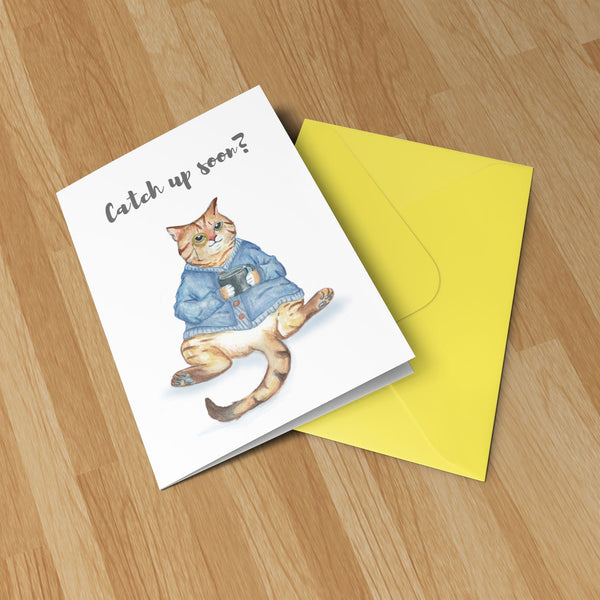Catch Up Cat - Original Illustration Greeting Card