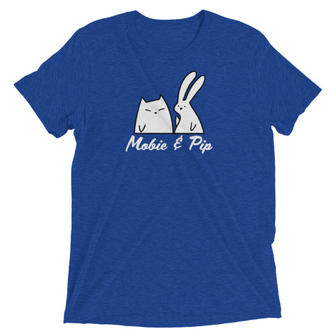 Mobie and Pip - Bunny and Cat Soft Casual Graphic Tee - Cat Lover Gift - Unisex