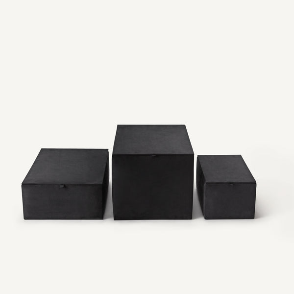 faux suede closet storage boxes [COLOR-BLACK] [SIZE-MEDIUM]