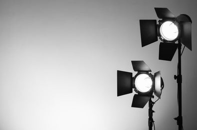 black and white image of studio lighting equipment