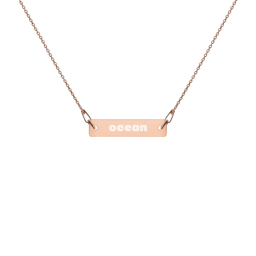 """ocean"" Engraved Bar Chain Necklace"
