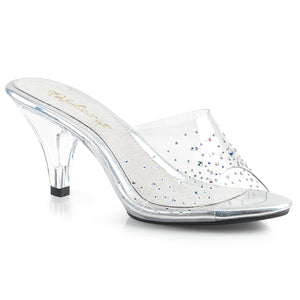 BELLE-301SD Fabulicious Sexy Shoes 3 Inch Heel Slide Slip on Rhinestone Shoes for Posing