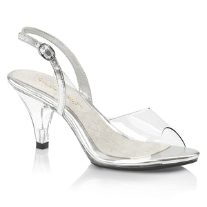 BELLE-350 Elegant 3 Inch High Heels Clear and Silver Sexy Shoe