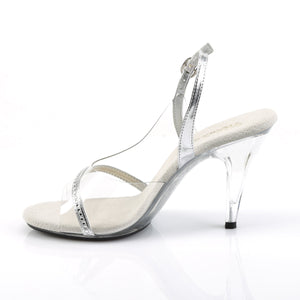 "CARESS-456 Elegant 4"" Heels Clear and Silver Sexy Shoes"