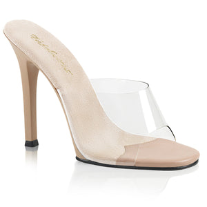 "GALA-01 Elegant 4.5"" Heels Clear Nude Posing Fitness Comp Shoes"