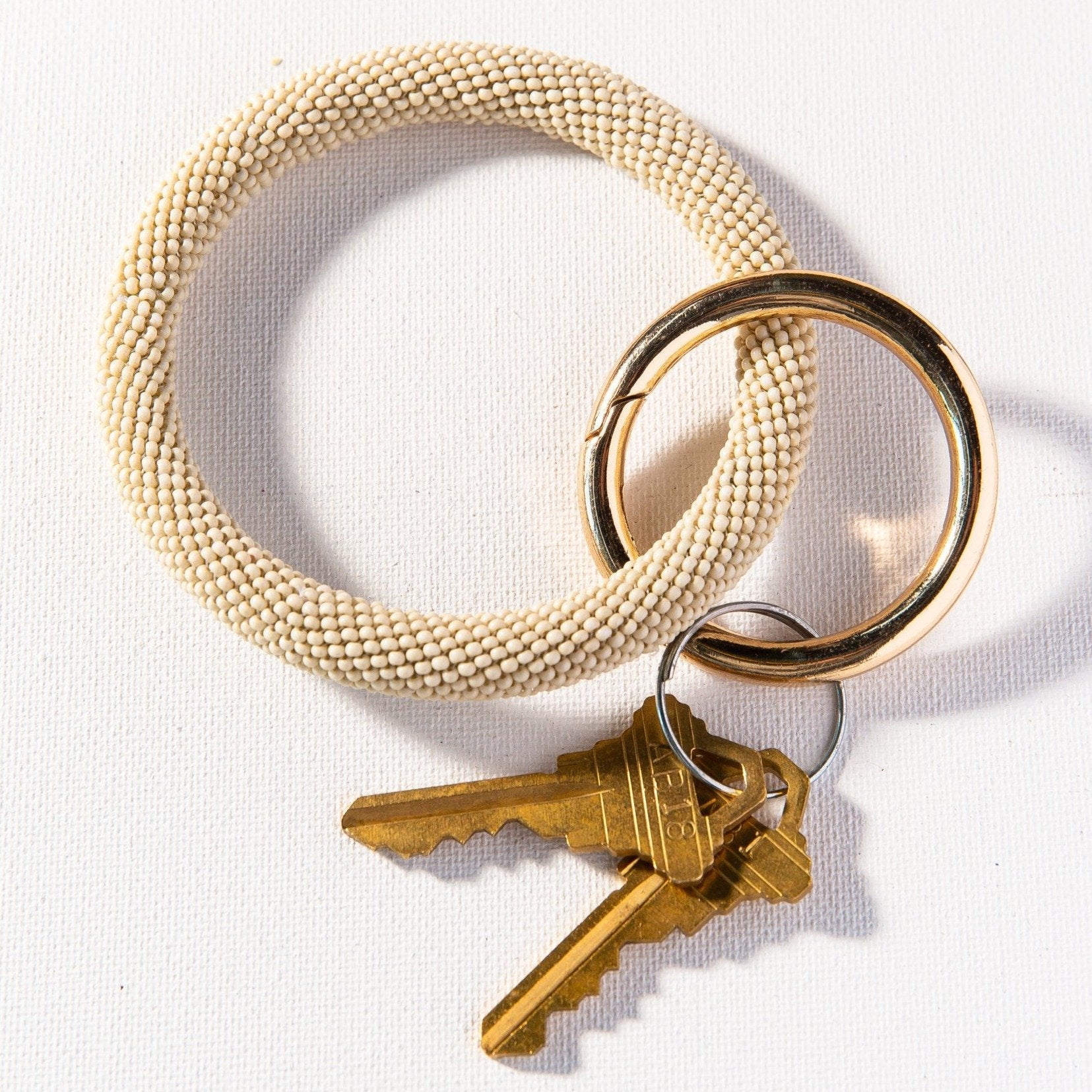 Ink + Alloy - Seed Bead Key Ring (Ivory)
