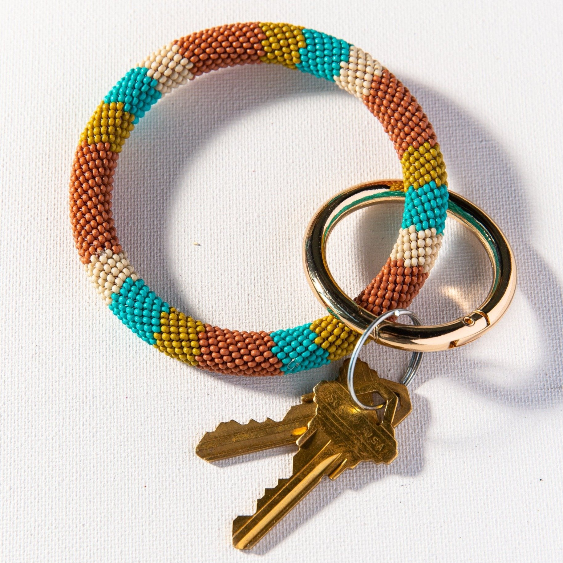 Ink + Alloy - Seed Bead Key Ring (Rust)