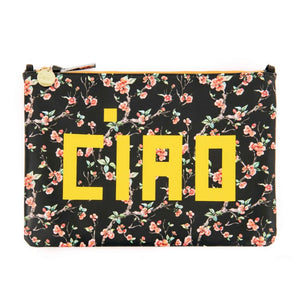 Clare V. - Flat Clutch with Tabs (Cherry Blossom) & Tubular Shoulder Strap (Black)
