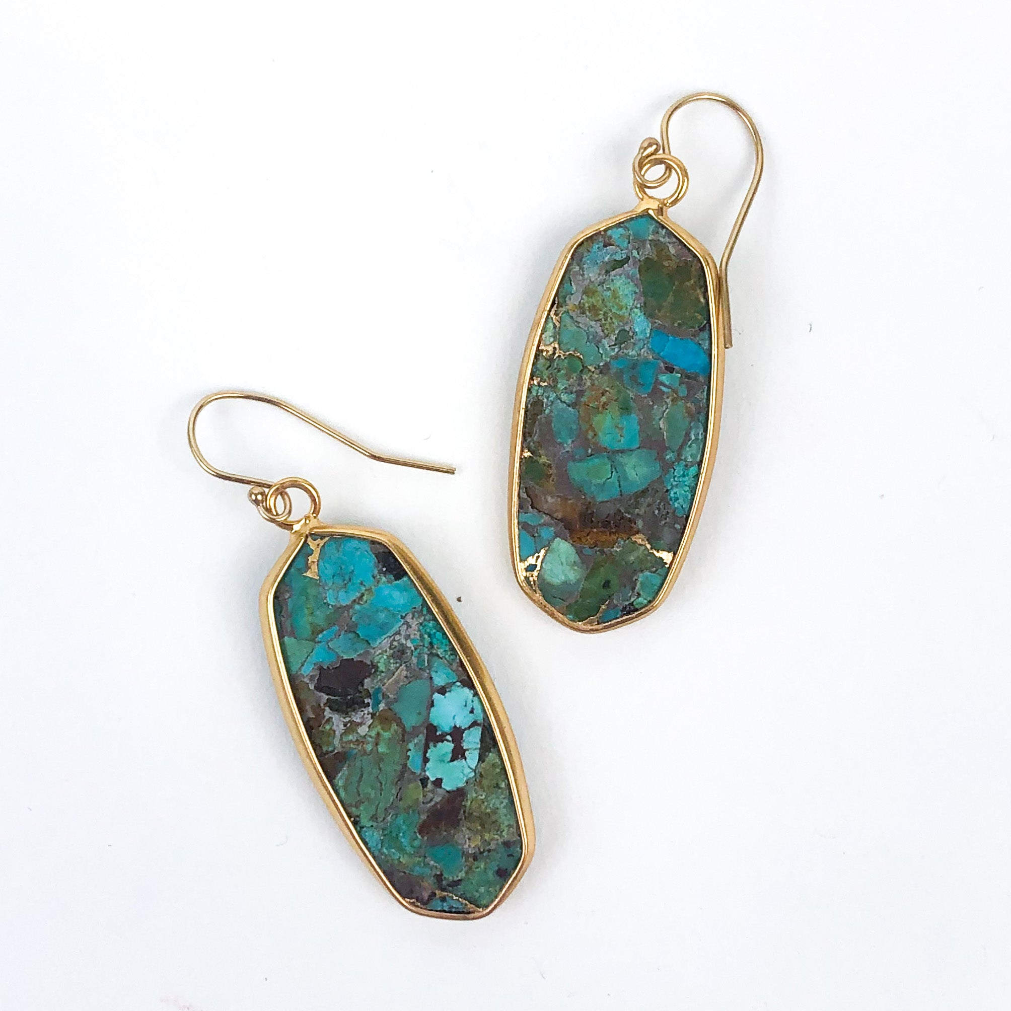 Leslie Francesca - Turquoise Gold Oval Drop Earrings
