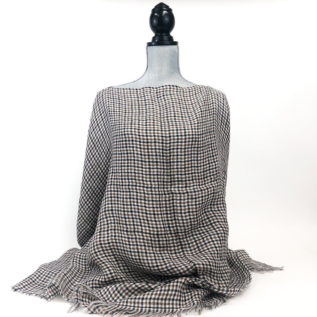 Destin - Poncho (Brown Gingham)